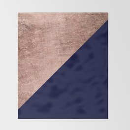 Minimalist rose gold navy blue color block geometric Throw Blanket