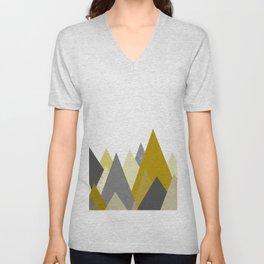 Mountains Mustard yellow Gray Neutral Geometric Unisex V-Neck
