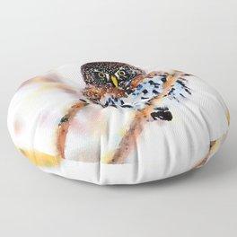 Winter Owl Watercolor Floor Pillow