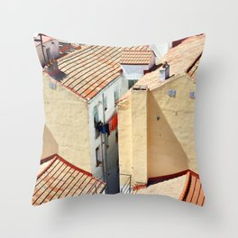 Old houses in poor quarter with tiled roofs Throw Pillow