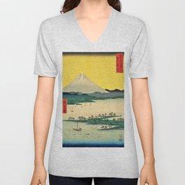 12,000pixel-500dpi - Utagawa Hiroshige - 36 Views of Mt.Fuji - Suruga Mihonomatsubara Unisex V-Neck