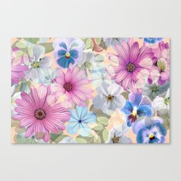 Pink and blue floral pattern Canvas Print