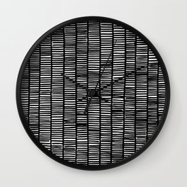 black and white weave pattern Wall Clock