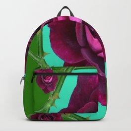 VELVETY DARK RED ROSE GREEN CANES ART Backpack