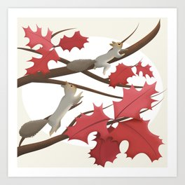 Autumn, squirrels and red leaves Art Print