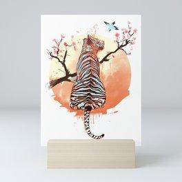 Tiger at sakura tree Mini Art Print