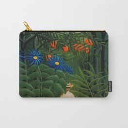 'Woman walking amid Tropical Blue Cornflowers  in an exotic forest' by Henry Rousseau Carry-All Pouch