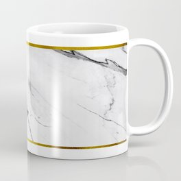 White Marble and Gold Strip Coffee Mug