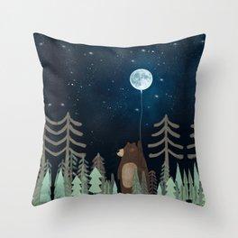 the moon balloon Throw Pillow