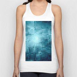 Nebula Pixels Steel Teal Blue Unisex Tank Top