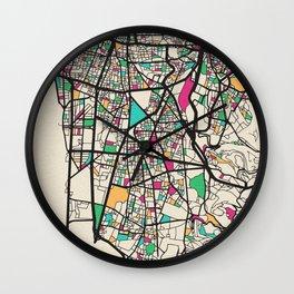 Colorful City Maps: Beirut, Lebanon Wall Clock