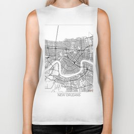 New Orleans Map White Biker Tank