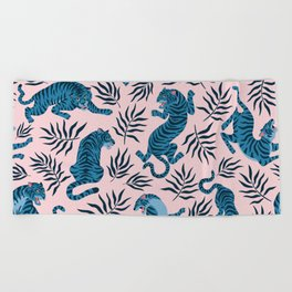 Blue asian tigers Beach Towel