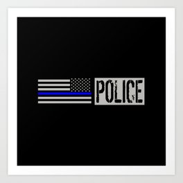 Police: Police Flag (Thin Blue Line) Art Print