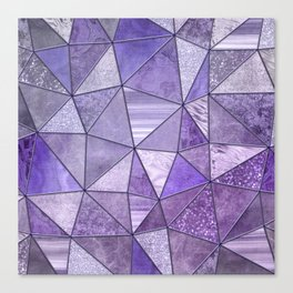 Purple Lilac Glamour Shiny Stained Glass Canvas Print