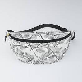 Delicate Leaves In Black And White Fanny Pack