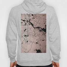 Amsterdam Rosegold on Black Street Map Hoody