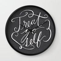 treat yo self Wall Clocks featuring Treat Yo Self 2 by Julie