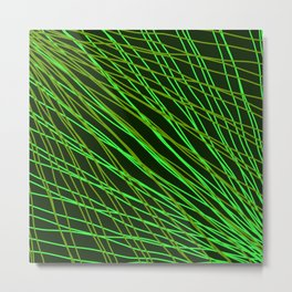 Rays of green light with intersecting light waves on black. Metal Print