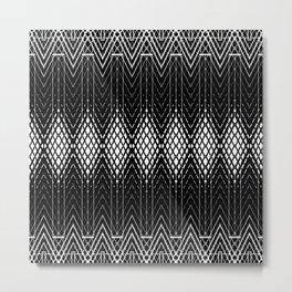 Geometric Black and White Diamond Scales Pattern Metal Print