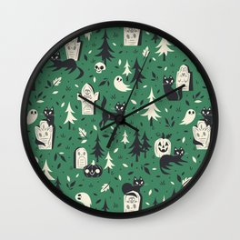 Cemetery Cuties (Green) Wall Clock