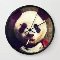 tyler durden Wall Clocks featuring Panda Durden by rubbishmonkey