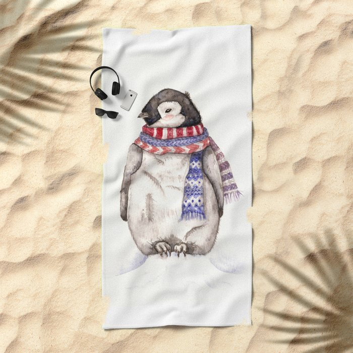 Baby Penguin in Red and Blue Scarf. Winter Season Beach Towel