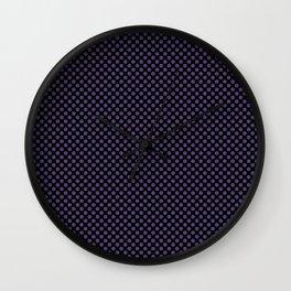 Black and Gentian Violet Polka Dots Wall Clock