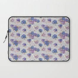 Hydrangeas and French Script with birds on gray background Laptop Sleeve