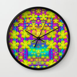 Outside the curtain it is peace florals and love Wall Clock