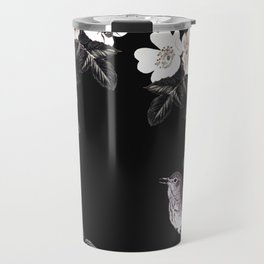 Blackberry Spring Garden Night - Birds and Bees on Black Travel Mug