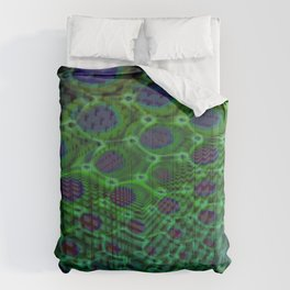 Fractal Descent #3 - Geometric Optical Illusion Psychedelic Void Trippy Colorful Design Comforters