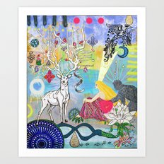 The Lovers and the blue deer  Art Print