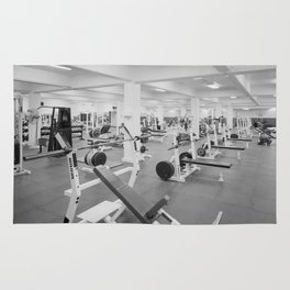Black and White Weight Room Photograph Rug
