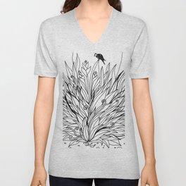 Bird on Foliage Unisex V-Neck