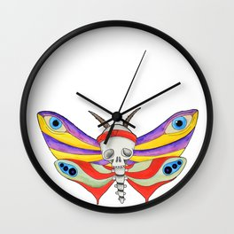 Watercolor butterfly skull multicolored Wall Clock