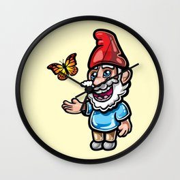 Gnome and Butterfly Wall Clock
