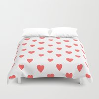 hearts Duvet Covers featuring Hearts by Cute Cute Cute