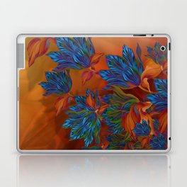 """Blue flowers on orange silk"" (Air Spring at night) Laptop & iPad Skin"
