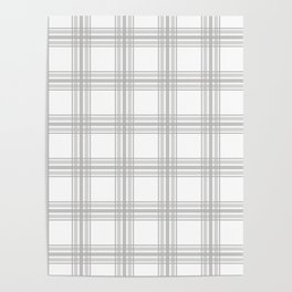 Farmhouse Plaid in Gray and White Poster