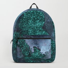 Malachite Glitter Stone and Ink Abstract Gem Glamour Marble Backpack