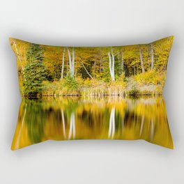 Autumn Reflections - Birch trees on Lake Plumbago Rectangular Pillow