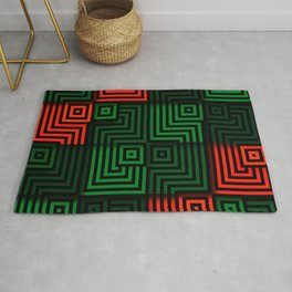 Red and green tiles with op art squares and corners Rug