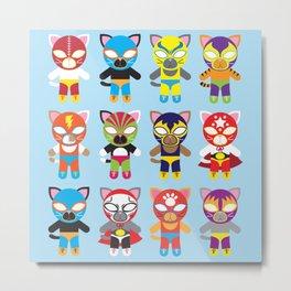Luchador Cats Metal Print