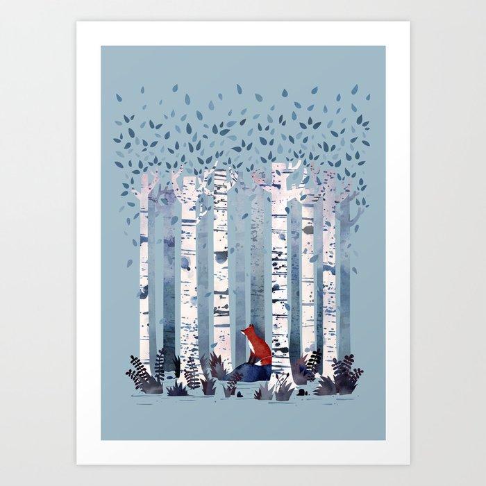 The Birches (in Blue) Kunstdrucke