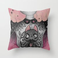 loll3 Throw Pillows featuring Black Cat by lOll3