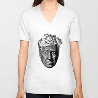 lynch V-neck T-shirts featuring David Lynch by lego-drama