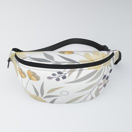 Modern, Floral Prints, Yellow, Gray and White Fanny Pack