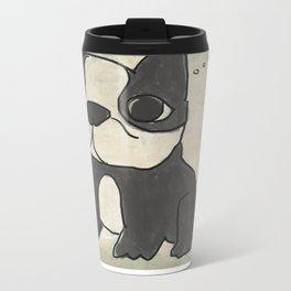 Hand Drawn and Quirky Boston Terrier San Jones Illustration Metal Travel Mug