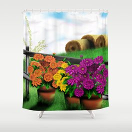 Potted Mums and Hay Bales Shower Curtain